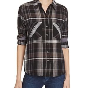 Free People Wesley Plaid Long Sleeve Shirt L